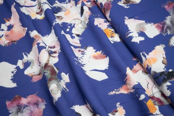 Viskose Krepp Blüten auf blau