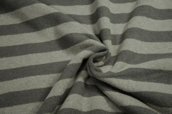 Strickstoff Lenn angeraut Streifen beige schlamm Baumwolle made in Italy