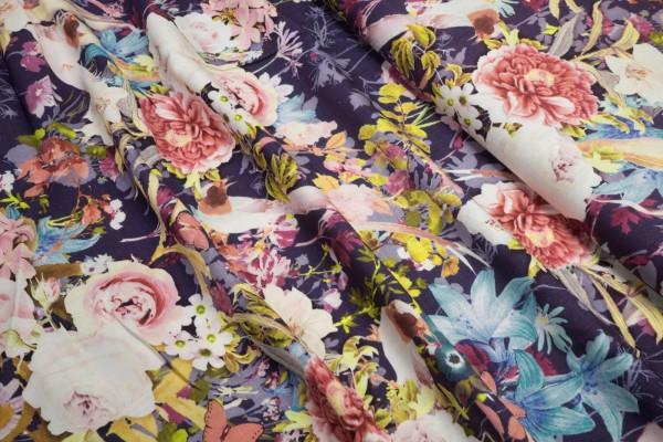 Viskose Digital Druck Floral auf dunkel lila
