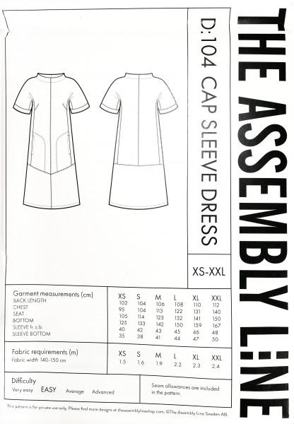 CAP SLEEVE DRESS PATTERN, Papierschnitt