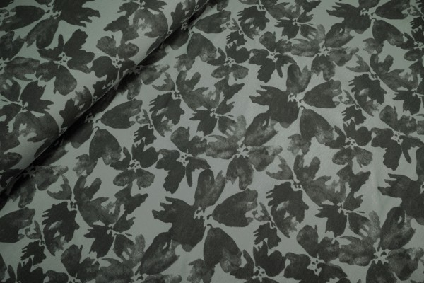 Sweat French Terry Blüten dunkelgrau auf hellgrau leicht angeraut