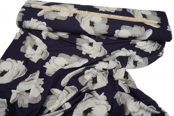 Viskosejersey • Big Flowers • nachtblau