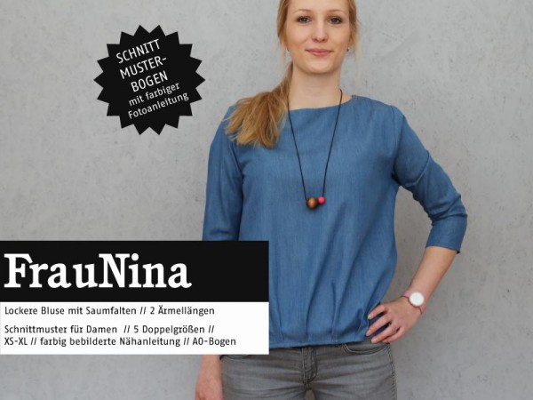 FRAU NINA • Bluse mit Saumfalten, Papierschnitt, Deckblatt