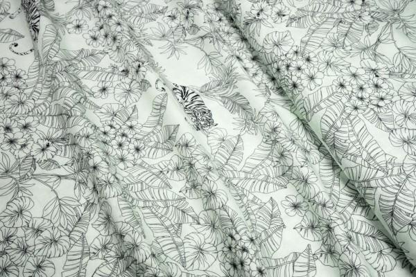 Swafing Viskose Yvonne Dschungel Tiger auf Ast schwarz auf naturweiß