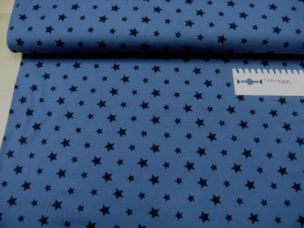 Jersey • Sterne • dunkelblau auf blau • Baumwoll Jersey