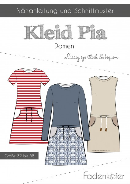 Kleid Pia Damen,Papierschnitt,Fadenkäfer,Deckblatt mit Skizzen