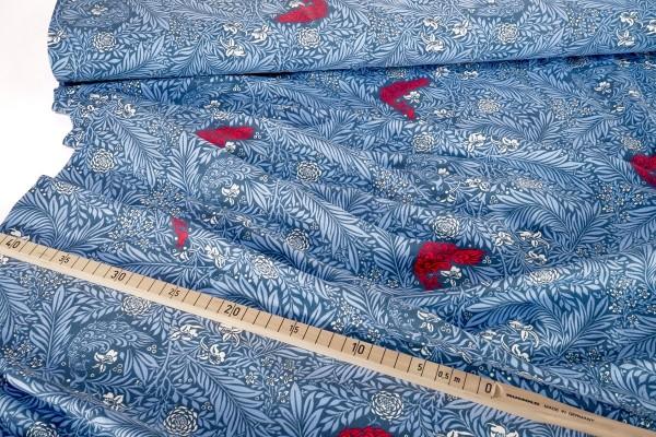Baumwolljersey Peacock hellblau rot Mies & Moos
