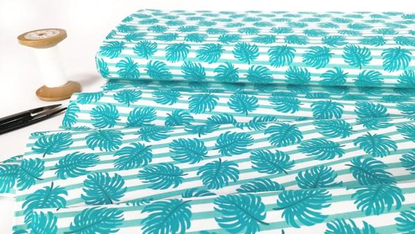 Baumwollstoff Palmenblätter türkis weiß gestreift