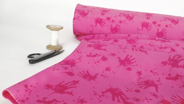 Softshell wilde Kleckserei mit Handabdruck dunkelpink auf pink
