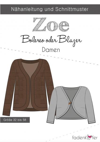 Bolero oder Blazer Zoe,Papierschnitt,Fadenkäfer,Deckblatt mit Skizzen