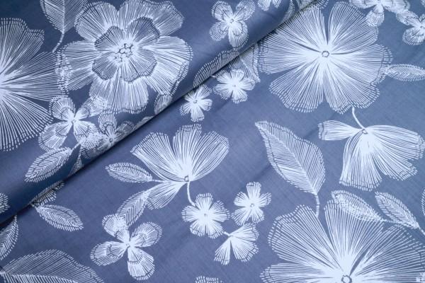 Baumwoll Satin Blüten naturweiß auf lila
