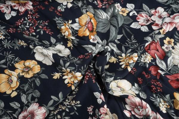 Viskose Blüten Blumen auf dunkelblau