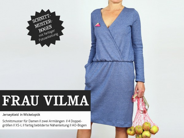 FRAU VILMA • Jerseykleid Wickeloptik, Papierschnitt, Deckblatt