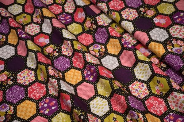 makower Kimono Hexagon black 2049 X