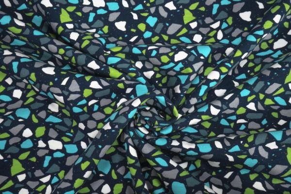 Jersey Scherben grün türkis weiß grau auf dunkelblau Baumwoll Jersey