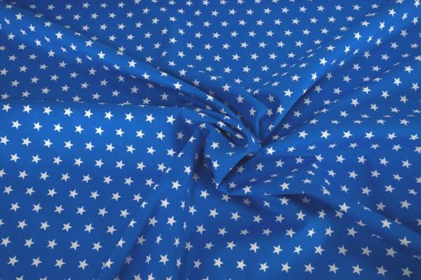 Baumwollstoff Sterne weiß auf mittelblau