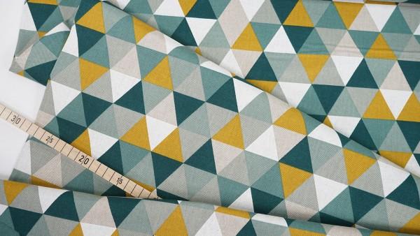 Dekostoff • Dreiecke • grün senf beige