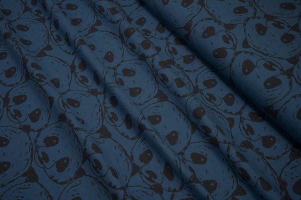 Jersey schwarze stilisierte Pandaköpfe auf blau Baumwoll Jersey