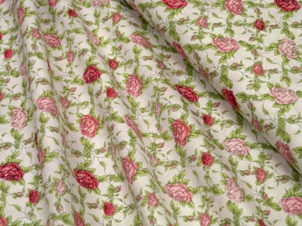 QT Santoro La vie en rose rose trellis in lt grey Baumwoll Stoff