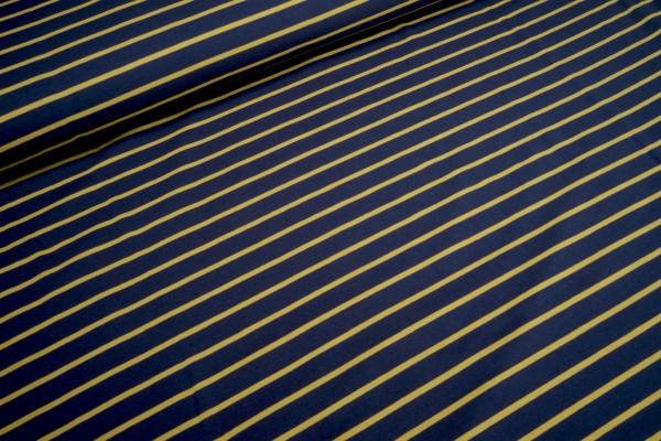 Sommersweat unaufgeraut Streifen senf auf dunkelblau