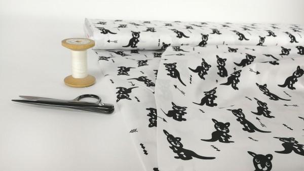 Baumwollstoff Popeline Känguru Pfeile schwarz auf weiß by Stenzo