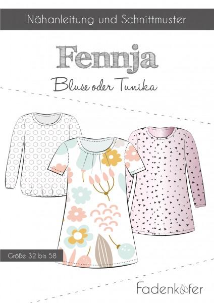 Bluse oder Tunika Damen,Papierschnitt,Fadenkäfer,Deckblatt mit Skizzen