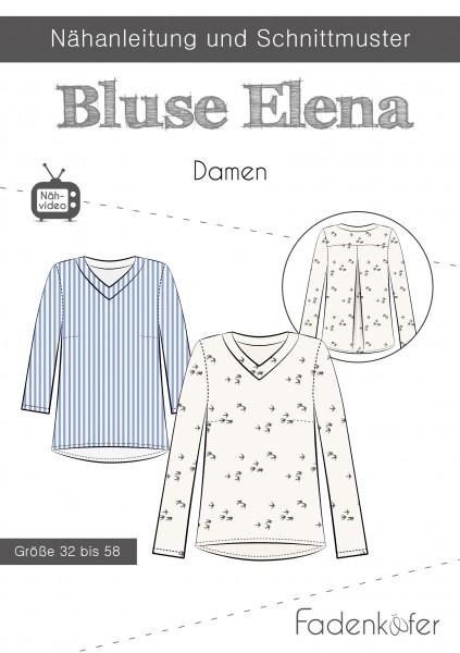 Bluse Elena Damen,Papierschnitt,Fadenkäfer,Deckblatt mit Skizzen