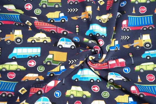 Baumwoll Jersey little Darling Autos und LKW auf dunkelblau