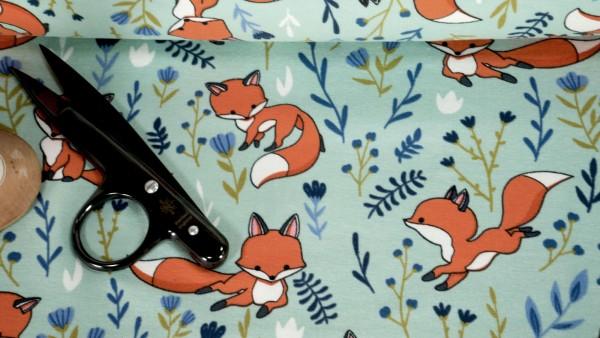 Baumwoll Jersey verspielter Fuchs Blumen auf hellmint
