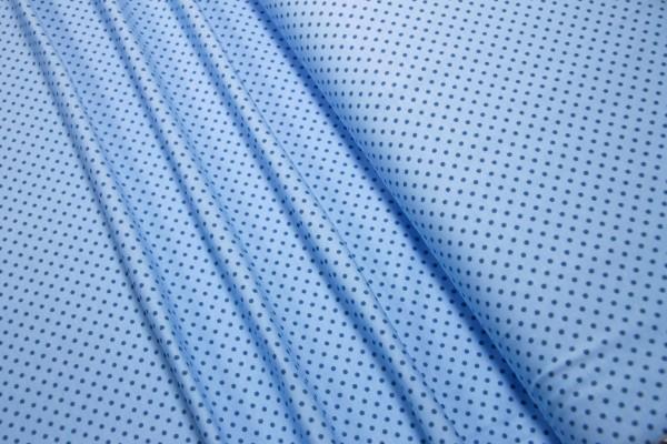 Jersey Little Darling mittelblaue mini Punkte auf hblau