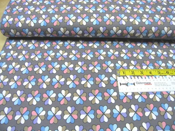 Jersey Kleeblatt bunt auf grau Baumwoll Jersey