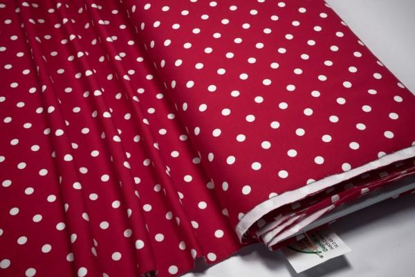 Jersey Punkte weiß auf rot Baumwoll Jersey