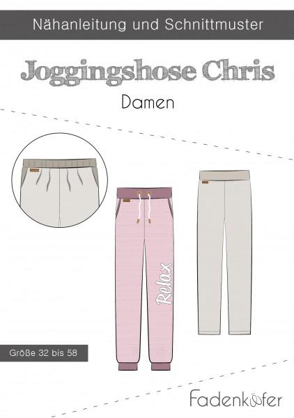 Jogginghose Chris Damen,Papierschnitt,Fadenkäfer,Deckblatt mit Skizzen