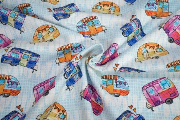 Studio e fabrics Color my World Tossed Campers 4909 11 by JVP Creations