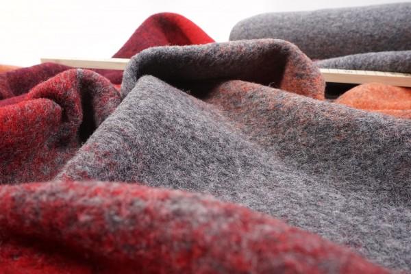Wollwalk Musterwalk mit Baumwolle rot grau orange Farbverlauf