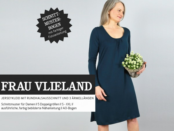 FRAU VLIELAND • Jerseykleid mit Rundhalsausschnitt, Papierschnitt, Deckblatt