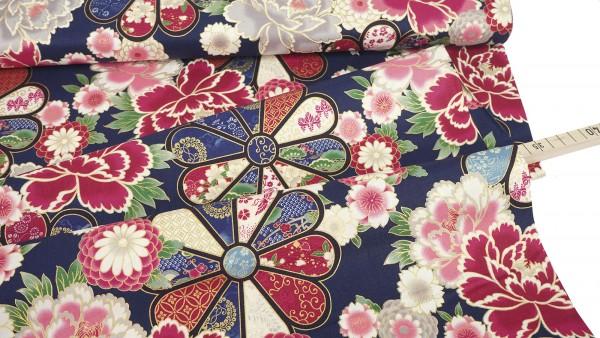 Quilt Gate • Japanese Flowers • nachtblau • metallic