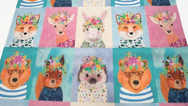 Blend Fabrics Panel Forest Friends Multi 129.104.01.1 by Mia Charro