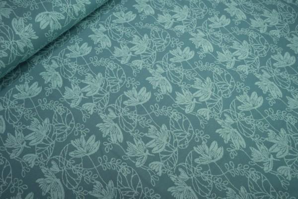 Jacquard Strick Blumenornamente mint auf dunkelmint