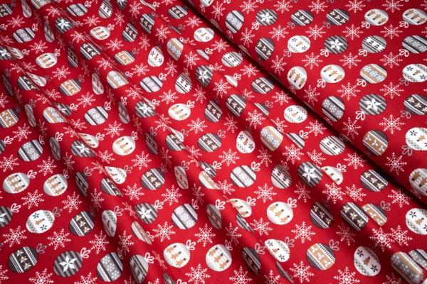 Weihnachts Baumwollstoff Weihnachtskugel Schneeflocken auf rot