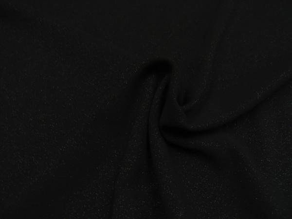 Kreppstoff Crêpe Glitter Stoff silber auf schwarz