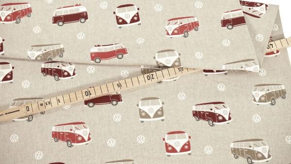 Dekocanvas • VW-Bullis • rot auf beige