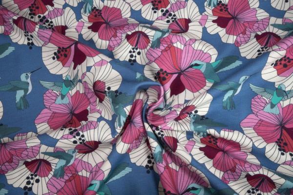 Jersey Blumenliebling auf blau Baumwoll Jersey