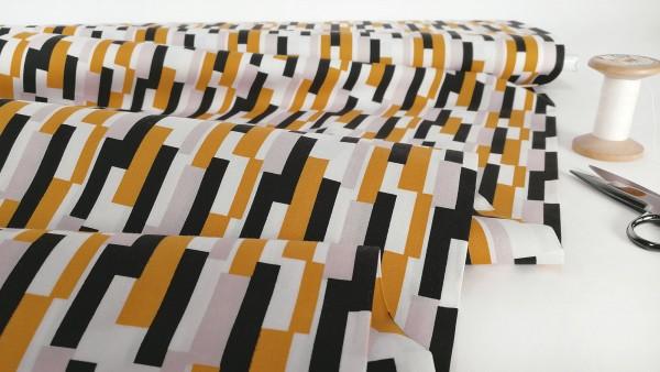 Baumwollstoff Popeline Streifen schwarz weiß senfgelb by Stenzo