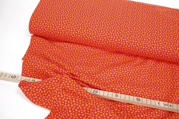 Bio-Baumwolljersey • Dotty • orange auf rot