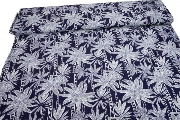 Viskose Palmenblätter weiß auf dunkelblau