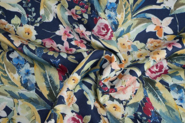 Viskose Blumen Print bunt auf dunkelblau