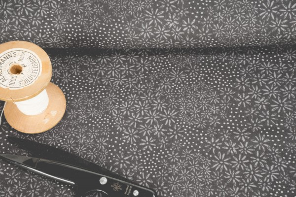 Baumwollstoff Blüten Punkte grau auf schwarz