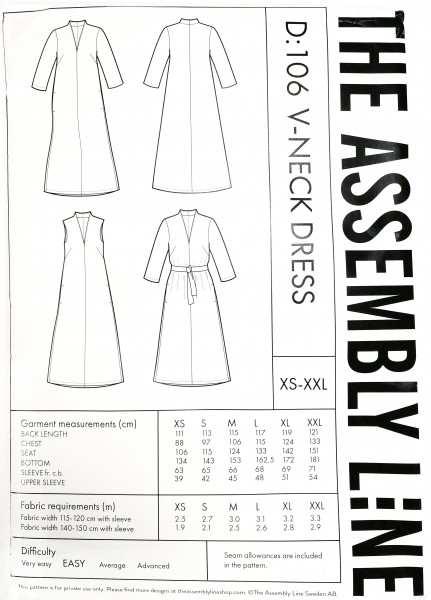 V-NECK DRESS PATTERN,Papierschnitt,The Assembly Line,Deckblatt