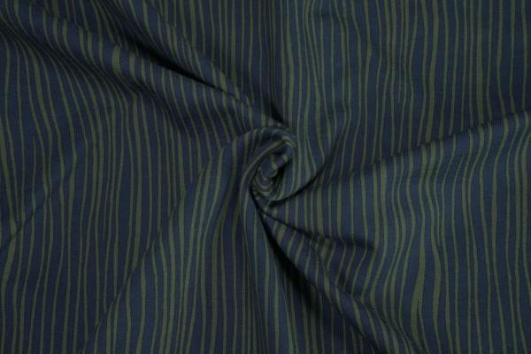 French Terry Schlangenlinien schlamm auf dunkelblau